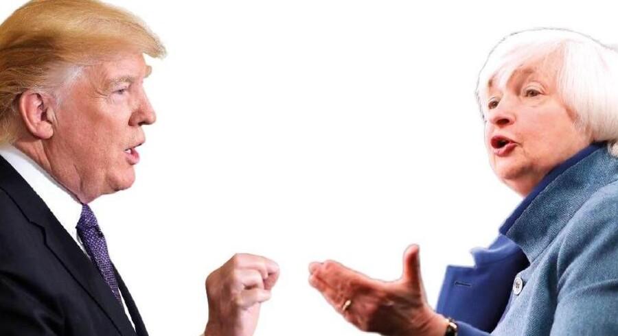 USAs præsident, Donald Trump, og verdens mest magtfulde økonom chefen for den amerikanske centralbank, Janet Yellen er ikke ligefrem perlevenner.