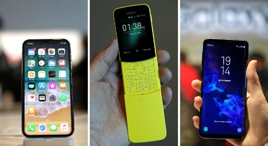 De billigere telefoner bliver stadig bedre og begrænser dermed Apples og Samsungs muligheder for hele tiden at skrue priserne på toptelefonerne op. Kunderne følger nemlig ikke med.Fotobyline: iPhone X: Justin Sullivan, Nokia 8110: Peter Nicholls og Samsung Galaxy S9: Lluis Gene