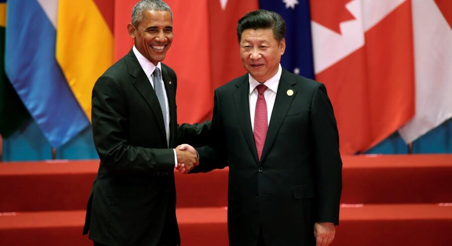 USA's præsident, Barack Obama (t.v.), og hans kinesiske kollega, Xi Jinping, godkendte lørdag klimaaftalen under G20-mødet i Kina. Reuters/Damir Sagolj