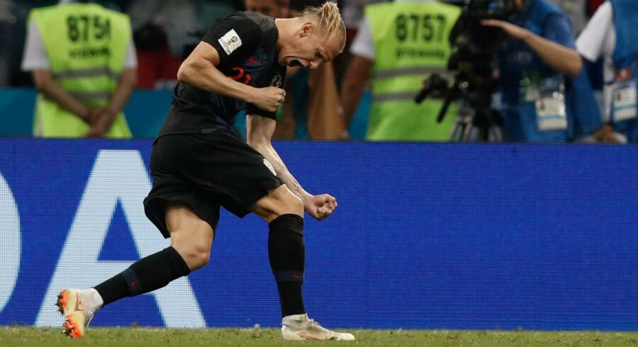 Kroatiens Domagoj Vida jubler efter sin scoring i lørdagens straffesparkskonkurrence. Adrian Dennis/Ritzau Scanpix
