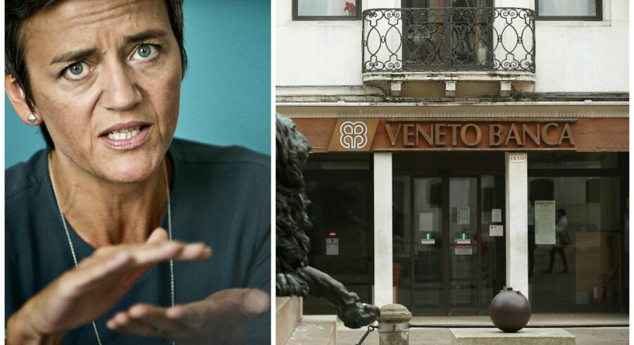 Italienske skatteydere smider med EUs konkurrencekommissær Margrethe Vestagers velsignelse 130 milliarder kroner i kreditter og kolde kontanter i redningsaktion af to fallerede banker. Gælden bør bekymre, mener bankanalytiker.Foto: Torkil Adsersen og Alessandro Bianchi.