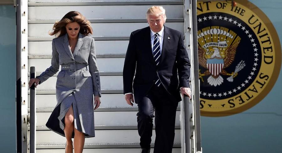 Donald Trump og førstedame Melania Trump ankommer til Bruxelles.