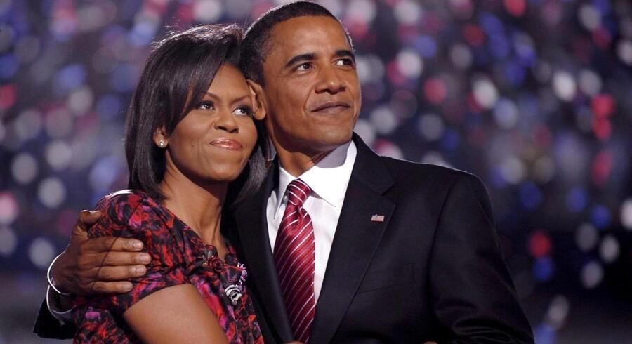 Barack og Michelle Obama i et sejrskram i Denver, Colorado, efter Barack Obama er blevet udråbt som USAs nye præsident i 2008.