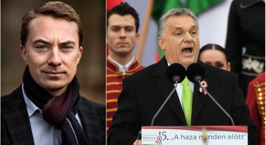»Uden på nogen måde at kende hverken Orbán eller Fidesz' (det ungarske regeringsparti, red.) program i detaljer og kunne stå på mål for det hele, er mit overordnede billede, at Viktor Orbán er en god nationalkonservativ mand, som forsvarer sit land mod de ydre fjender, der er,« siger Morten Messerschmidt om den ungarske premierminister forud for søndagens valg.