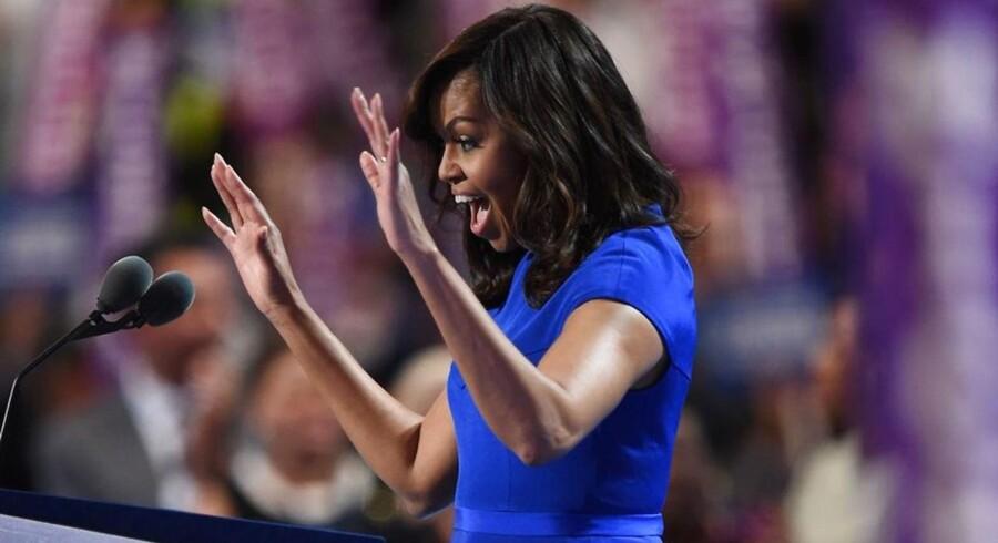 Her taler Michelle Obama på demokraternes konvent i Philadelphia, Pennsylvania mandag 25. juli.