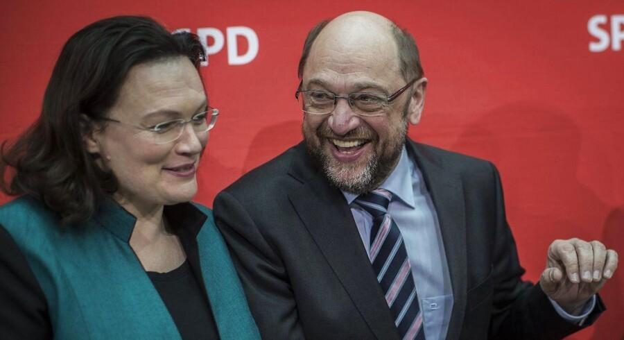Arbejdsminister Andrea Nahles og kanslerkandidat Martin Schulz vil vinde det tyske valg ved at gøre op med fortidens socialdemokratiske synder.