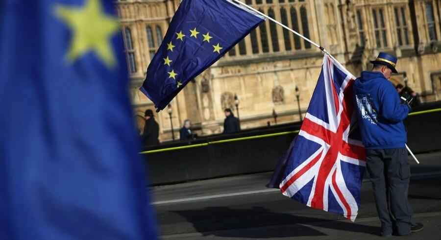 Kampen mellem EU-modstandere og EU-tilhængere er så bidsk som nogensinde i Storbritannien næsten to år efter Brexit-afstemningen.Foto: Daniel Leal-Olivas/AFP