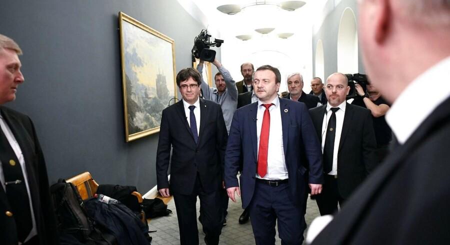 Formålet med mødet mellem den catalanske separatistleder Carles Puigdemont og medlemmer af Folketinget var, at de danske politikere skulle blive klogere på situationen i den spanske region. Arkivfoto.