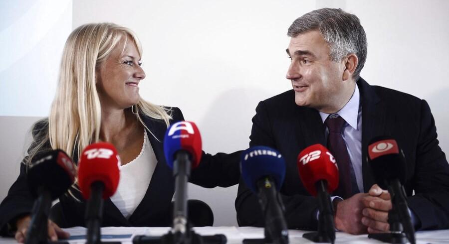 Formand for de de Nye Borgerlige Pernille Vermund og næstformand Peter Seier Christensen (Arkivfoto: Olafur Steinar Gestsson/Scanpix 2016)