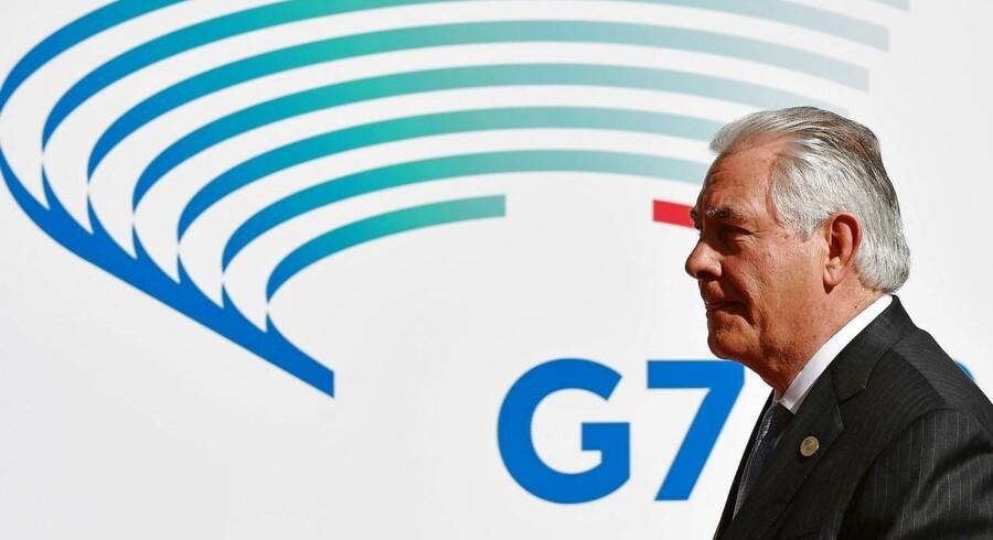 Rex Tillerson ankommer til G7-mødet.