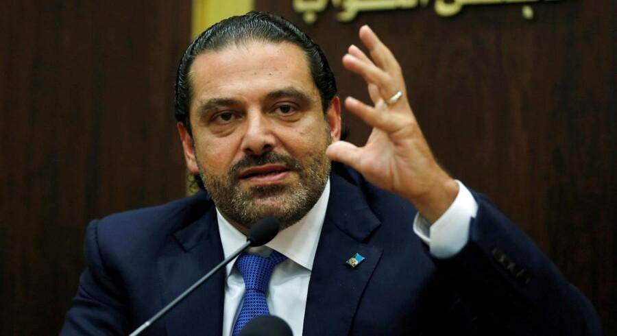 Saad al-Hariri, som for halvanden uge siden rejste til Saudi-Arabien og gik af som Libanons regeringschef, siger i et interview søndag aften, at han snart vender hjem. (Foto: MOHAMED AZAKIR/Scanpix 2017)