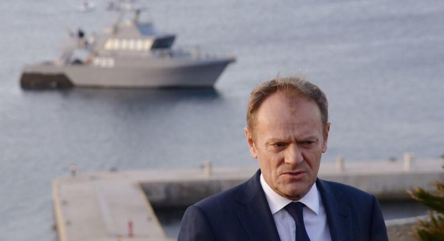 Donald Tusk til pressemøde på Malta d. 2. februar.