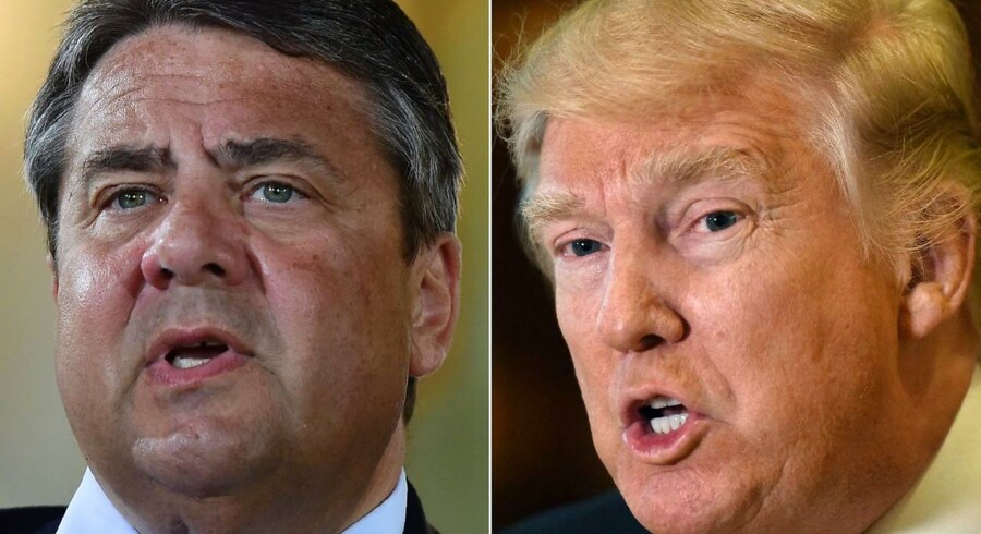 "(FILES) - (COMBO) This combination of file photos created on January 16, 2017 shows then US President-elect Donald Trump (R, January 9, 2017 in New York) and German Vice-Chancellor Sigmar Gabriel (May 24, 2016 in Meseberg). US President Donald Trump's actions have ""weakened"" the West, Gabriel, now German Foreign Minister, said on May 29, 2017, while also charging that Trump's ""short-sighted"" policies hurt EU interests. / AFP PHOTO / Timothy A. CLARY AND Tobias SCHWARZ"