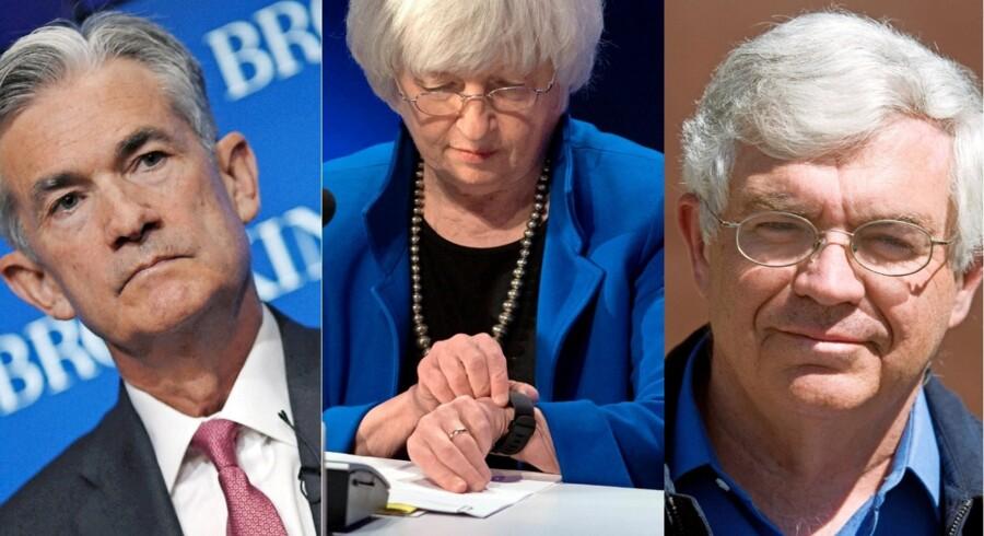 Tiden er ved at løbe ud for den amerikanske centralbankchef, Janet Yellen, som udfordres af Jerome Powell (tv.) og John Taylor. Arkivfotos: Reuters og AFP