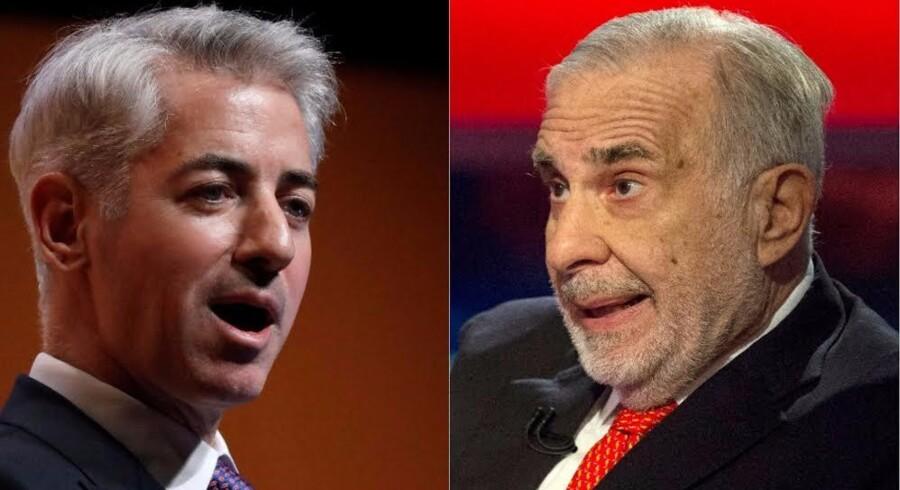Til venstres ses Bill Ackman, der er så skråsikker på, at Herbalife går konkurs, at han har satset en milliard dollars på. Carl Icahn, til højre, har det lige omvendt - han har købt hidsigt op i Herbalife-aktier i forventning om, at han forretningen vil fortsætte med at vokse.