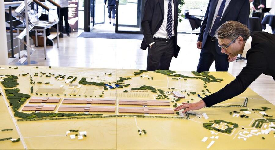 Apple præsenterer planer og modeller af deres ny datacenter i Foulum ved Viborg. Her ses modellen af bygningerne