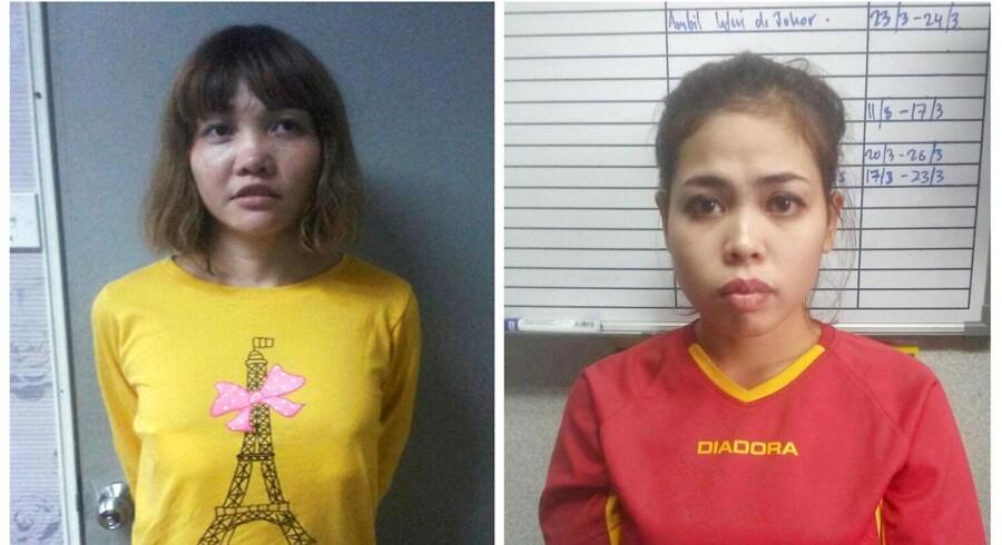 Den vietnamesiske Doan Thi Huong, til venstre, og indonesiske Siti Aishah er sigtet for mordet på Kim Jong-Uns bror, Kim Jong-Nam. De risikerer dødsstraf. De forklarer selv, at de troede de deltog i et realityprogram. Royal Malaysia Police/Handout via Reuters
