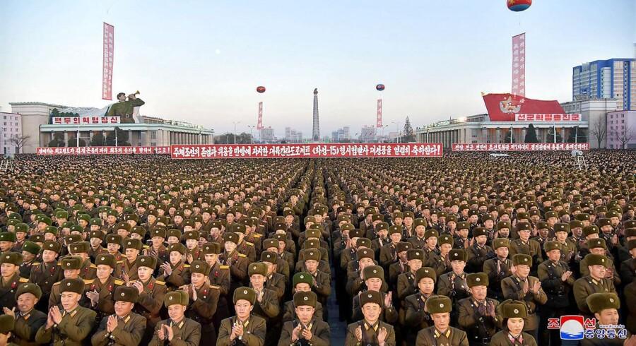 Festligheder på Kim Il-sungs Plads i Nordkorea.