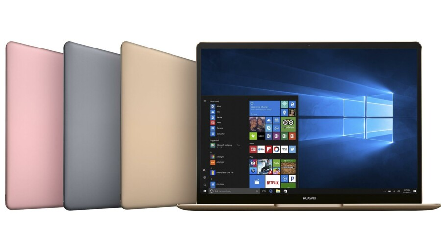 Matebook er Huaweis nye serie af bærbare PCer. De går direkte efter topsegmentet af købere og kommer til Danmark lige efter sommerferien. Foto: Huawei