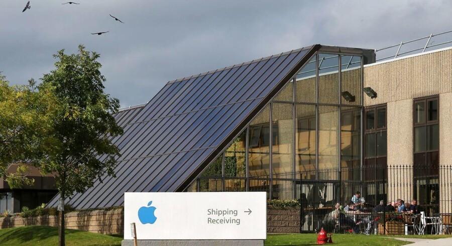 Apples skattesag med EU handler om et eftersmæk på 100 milliarder kroner i Irland, hvor Apples europæiske hovedsæde (billedet) ligger, men den amerikanske regering får ikke lov at stille op i retssagen. Arkivfoto: Paul Faith, AFP/Scanpix