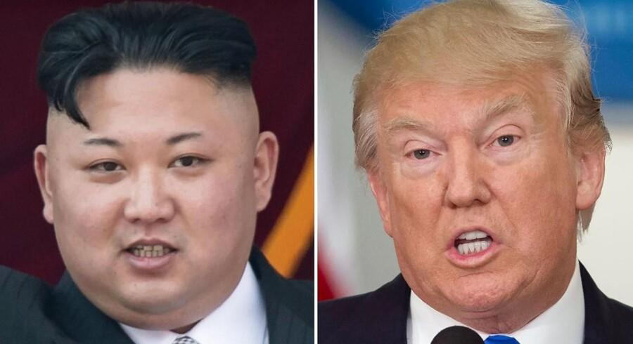 »Men det grundlæggende spørgsmål er: Hvor farligt er et atombevæbnet Nordkorea?« Nordkoreas leder, Kim Jong-Un, og USAs præsident, donald Trump