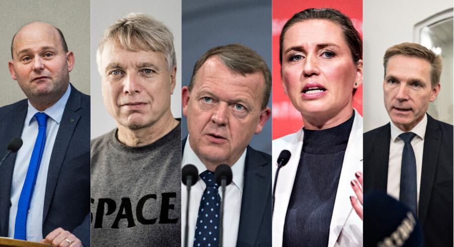 Fotos af: (Fra venstre) Søren Pape Poulsen, Uffe Elbæk, Lars Løkke Rasmussen, Mette Frederiksen og Kristian Thulesen Dahl