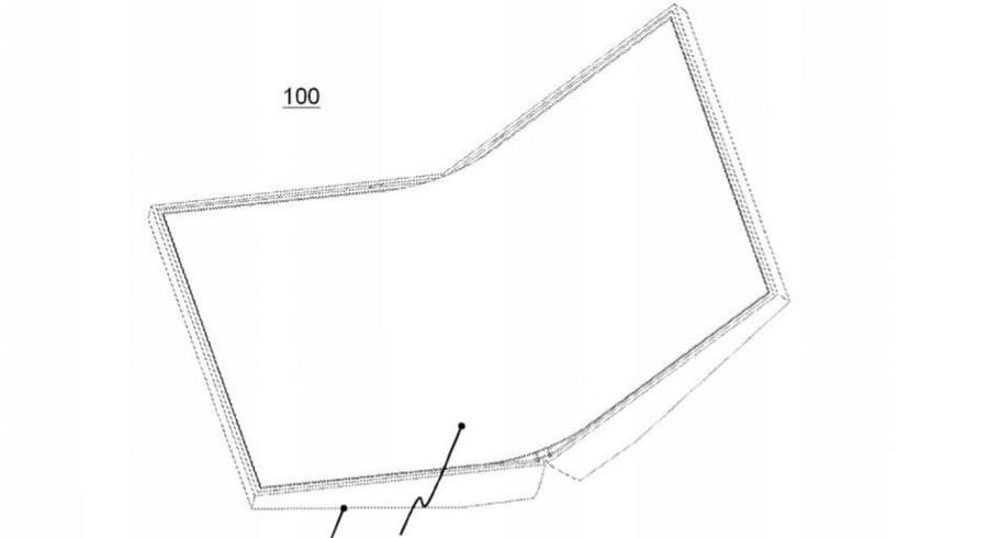 Sådan ser den ud på tegnebrættet, Nokias kommende, foldbare mobiltelefon. Tegningen stammer fra den patentanmodning, som det amerikanske patentkontor nu har accepteret. Illustration: Nokia