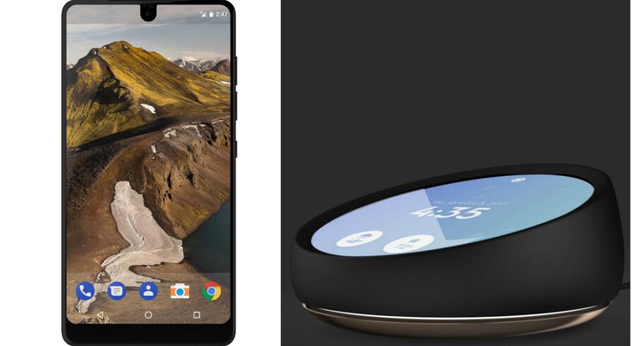 Den nye Essential-telefon og Home-assistenten, som nu blander sig på mobilmarkedet. Foto: Essential