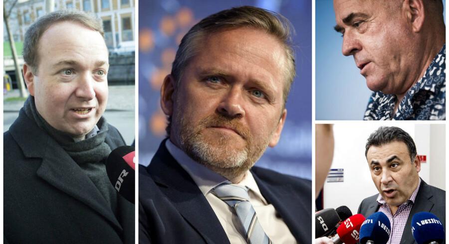 Venstres Michael Aastrup Jensen, Udenrigsminister Anders Samuelsen, DFs Søren Espersen, og de Konservatives Naser Khader.