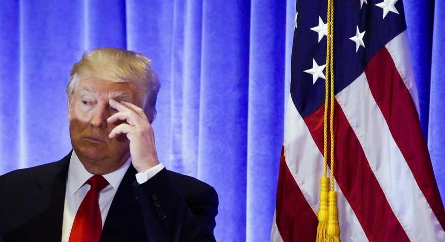 USAs kommende præsident, Donald Trump, har igen stjålet alle overskrifterne med sine meldinger om Brexit, EU, NATO og Tysklands kansler Angela Merkel. Her ses han til en pressekonference i Trump Tower i New York den 11. January 2017. EPA/JUSTIN LANE