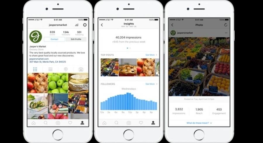 Ved at ændre sin profil til en ægte virksomhedsprofil på Instagram får man adgang til flere værktøjer, heriblandt at kunne sætte en knap på sine opslag, så brugerne lettere kan komme i kontakt med virksomheden. Desuden er der adgang til analyseværktøjet Insights, så det bliver lettere at målrette sin markedsføring på billeddelingstjenesten. Fotos: Instagram