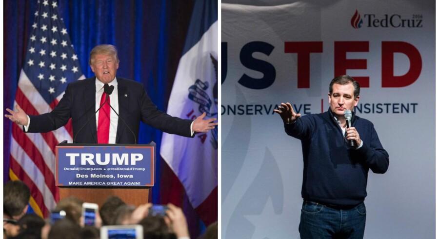Der foregår en kamp om den republikanske partisjæl i øjeblikket mellem de to kandidater på yderfløjen, Ted Cruz (til højre) og Donald Trump (til venstre), og de øvrige mere midtersøgende kandidater, vurderer Anders Agner Pedersen, redaktør på netmediet Kongressen.