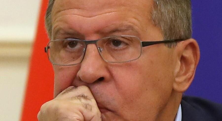 Ruslands udenrigsminister, Sergej Lavrov, beklager, at spændingerne mellem Rusland og USA optrappes. Scanpix/Karim Jaafar