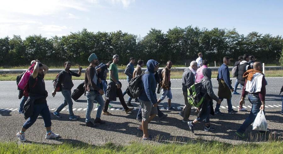Flygtninge på motorvej i Sønderjylland, september 2015.
