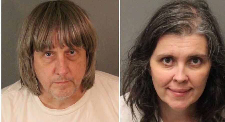 Forældreparret 57-årige David Turpin og 49-årige Louise Turpin fra Californien står til 94 års fængsel, hvis de bliver dømt for anklagerne om tortur mod deres egne børn. Reuters/Handout