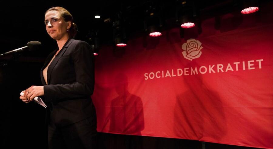 Socialdemokratiets formand Mette Frederiksen til partiets valgfest under Kommunalvalget 2017 i Amager Bio. Socialdemokratiet er valgets store vinder.