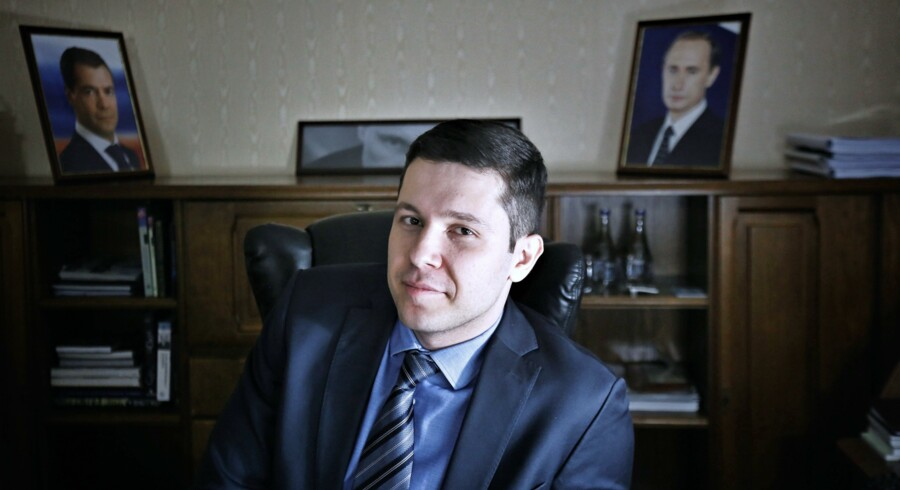 Governor of Kaliningrad region Anton Alikhanov in his office. kaliningrad, Russia, 2017