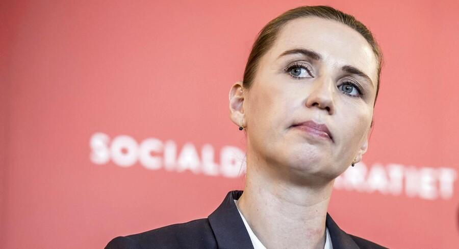 Socialdemokratiets formand Mette Frederiksen præsenterer partiets nye udlændingeudspil »Retfærdig og realistisk« i februar.
