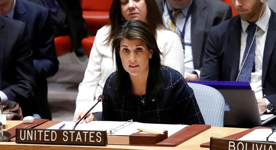 Nikki Haley i FNs Sikkkerhedsråd ved en anden lejlighed. 17. april 2018. REUTERS/Shannon Stapleton