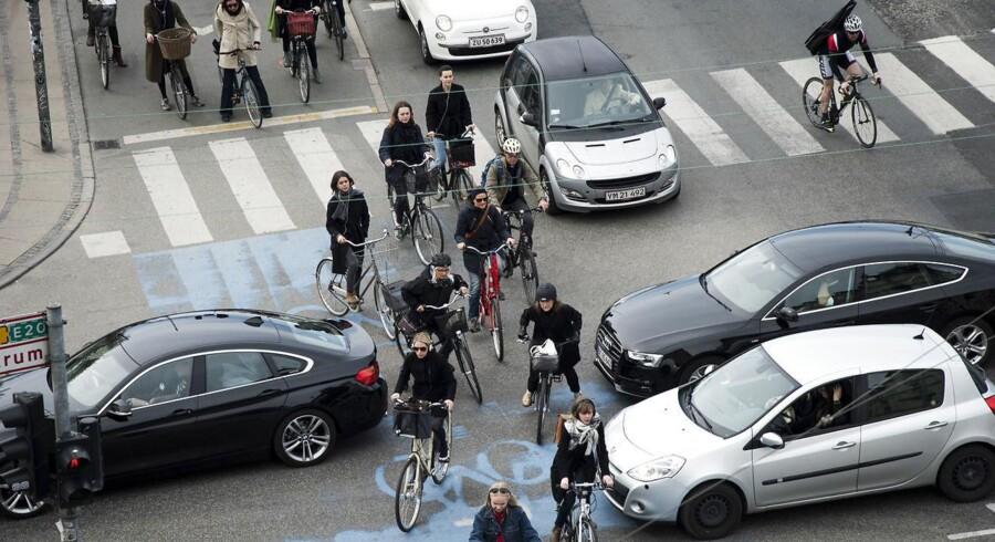 56 pct. af københavnerne er enige eller overvejende enige i, at politikerne på Københavns Rådhus bør skabe bedre forhold for cyklister - også selv om det måtte gå ud over forholdene for bilister. På billedet kæmper cyklister og bilister om pladsen ved det store kryds ved Dronning Louises Bro.