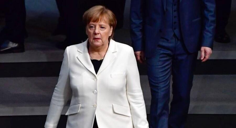 Angela Merkel (CDU) ankommer til Bundestagen d. 14. marts 2018.