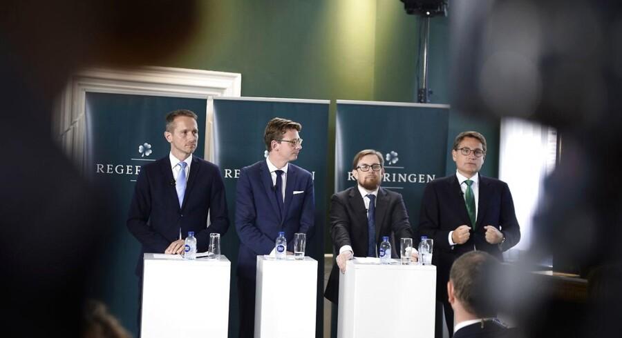 Kristian Jensen, Karsten Lauritzen, Simon Emil Ammitzbøll og Brian Mikkelsen. (Foto: Mads Claus Rasmussen/Scanpix 2017)
