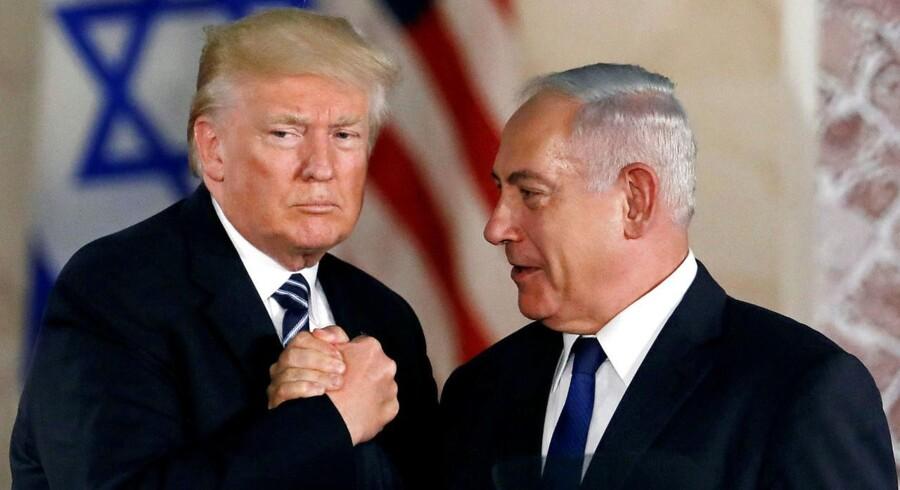 USA's præsident Donald Trump og Israels premierminister Benjamin Netanyahu under Trumps besøg i Jerusalem, maj 2017.