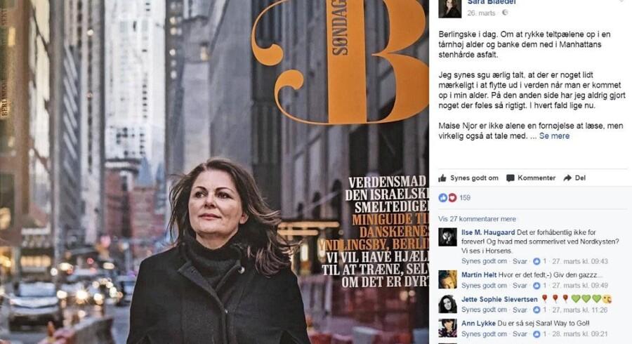 Sara Blædel er én af de meget aktive forfattere på bl.a. Facebook - her med en begejstret opdatering om Berlingskes interview med hende i New York tidligere i år. Mød hende på sociale medier her: Facebook: Sara.Blædel, Instagram: @sarablædel, Twitter: @sarablædel.