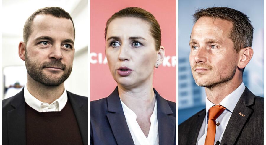 Morten Østergaard (R, Mette Frederiksen (S) og Kristian Jensen (V) er alle tre slået ind på en strammere kurs i udlændingepolitikken. Arkivfoto: Ritzau/Scanpix