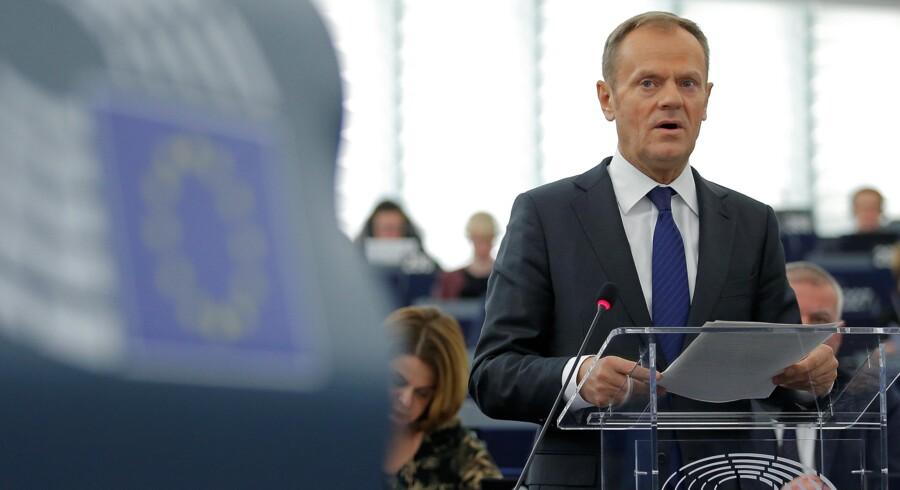 EU-præsident Donald Tusk er på talerstolen ved EU-Parlamentets første plenarforsamling i det nye år, hvor brexit er på dagsordenen. Reuters/Vincent Kessler