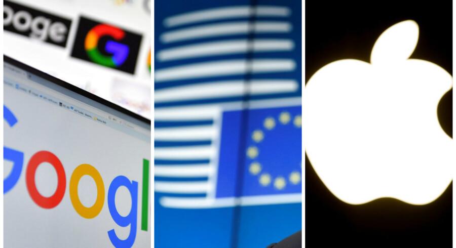 EU-Kommissionen lægger op til at vride armen rundt på Google og Apple. Arkivfotos: Loic Venance, Philippe Huguen og John Thys, AFP/Scanpix