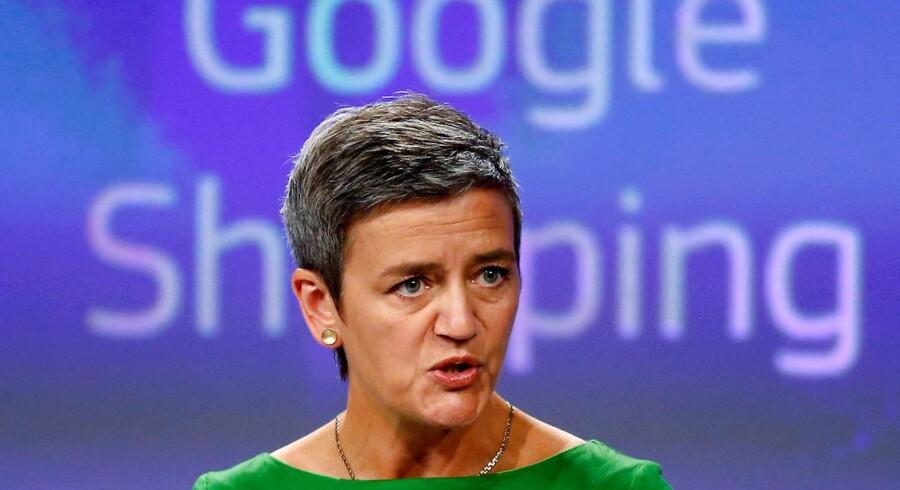 Senest 29. august skal Google fortælle EUs konkurrencekommissær, Margrethe Vestager, hvordan internetgiganten vil holde op med at presse sine egne internettjenester frem blandt søgeresultaterne på bekostning af konkurrenterne. Arkivfoto: François Lenoir, Reuters/Scanpix