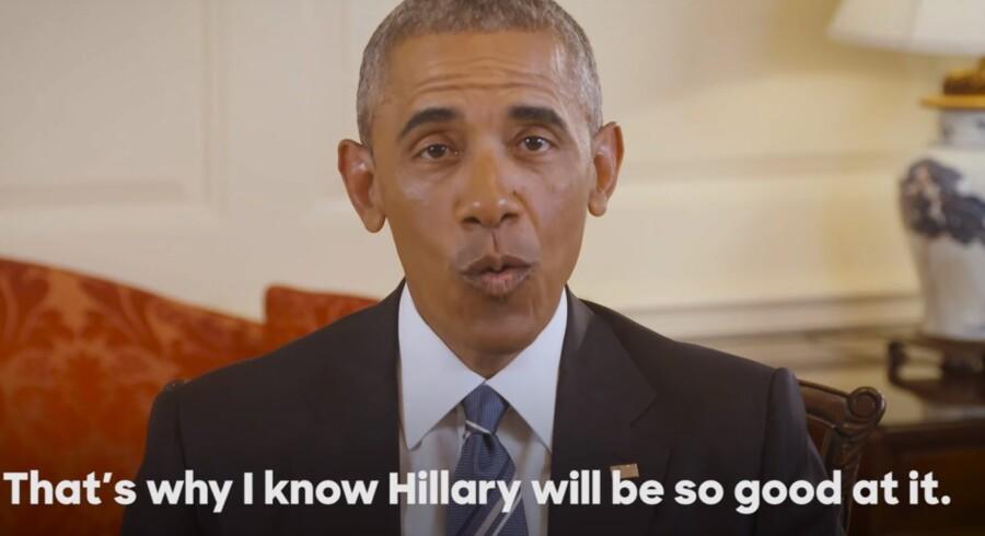 Den amerikanske præsident Barack Obama anbefaler nu officielt amerikanerne at stemme på Hillary Clinton som hans efterfølger i Det Hvide Hus. Det sker i en Youtube-video, som præsidenten offentliggjorde torsdag aften dansk tid. Free/Youtube