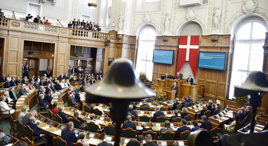 Statsminister Lars Løkke Rasmussen på talerstolen ved Folketingets åbning 4. oktober 2016. (Foto: Liselotte Sabroe/Scanpix 2016)